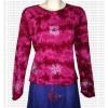 Flower print rib cotton full Tshirt