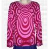 Circle waves print full rib cotton T-shirt