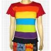 Plain Rainbow stripes short sleeves t-shirt