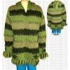 Crochet design stripes woolen jacket