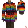 Rainbow color printed rib hoodie