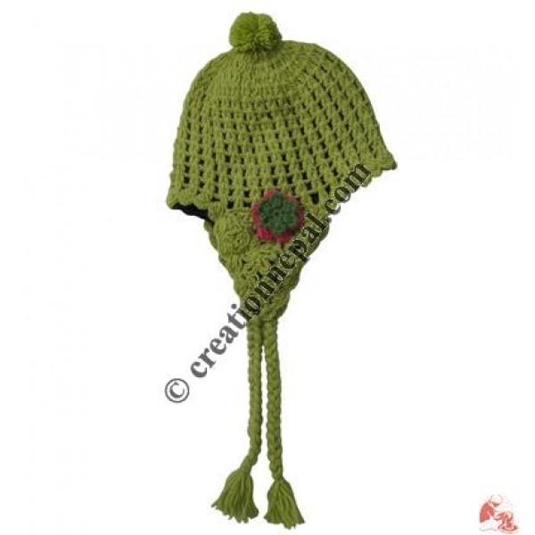 Side flower patch woolen ear hat5