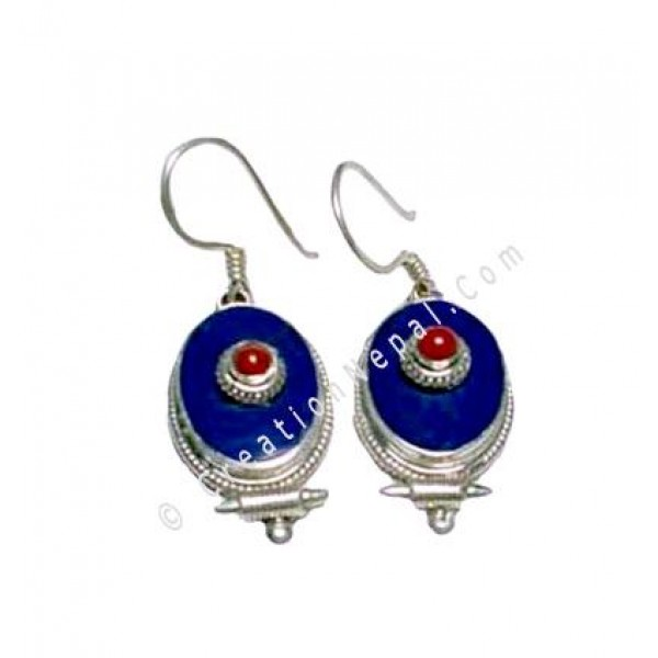 Oval shape Tibetan earring