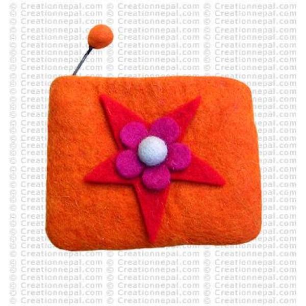 Star flower felt coin purse