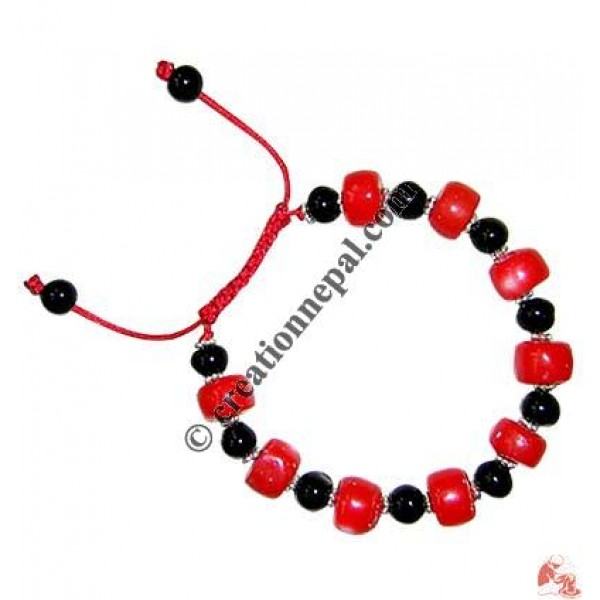 Glass coral beads wristband3