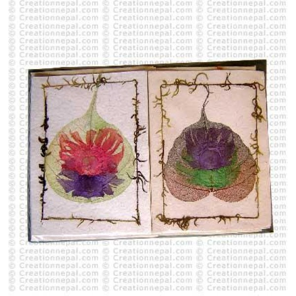 Double flower over Bodhi leaf cards
