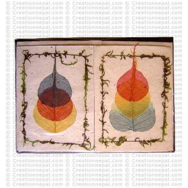 Triple Bodhi leaves design cards