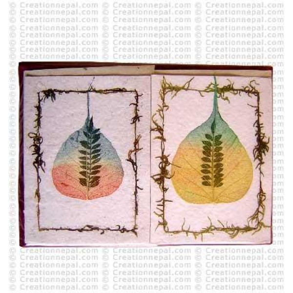 Leaves inlay design cards