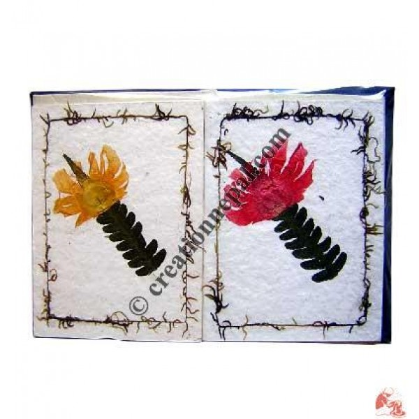 Single leaf and flower design cards