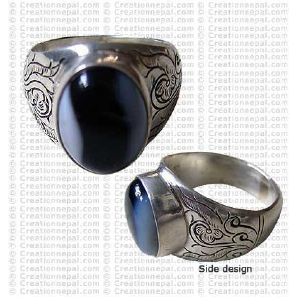 Carved finger ring