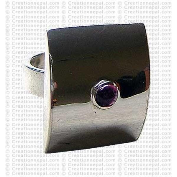 Rectangle silver finger ring