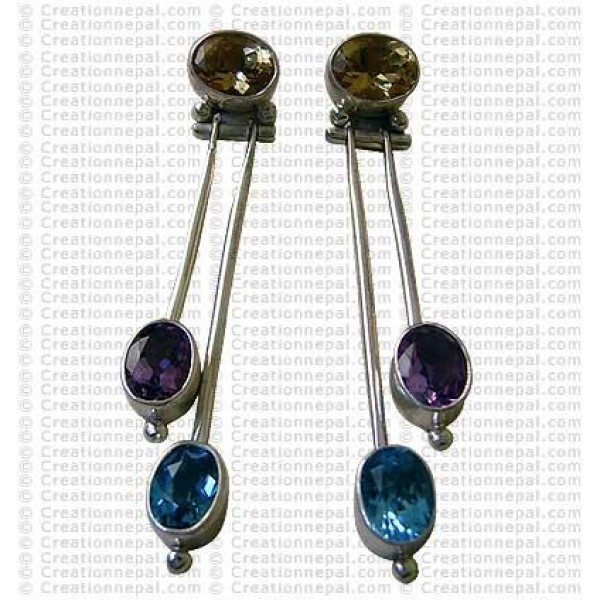 Long three stone Earring