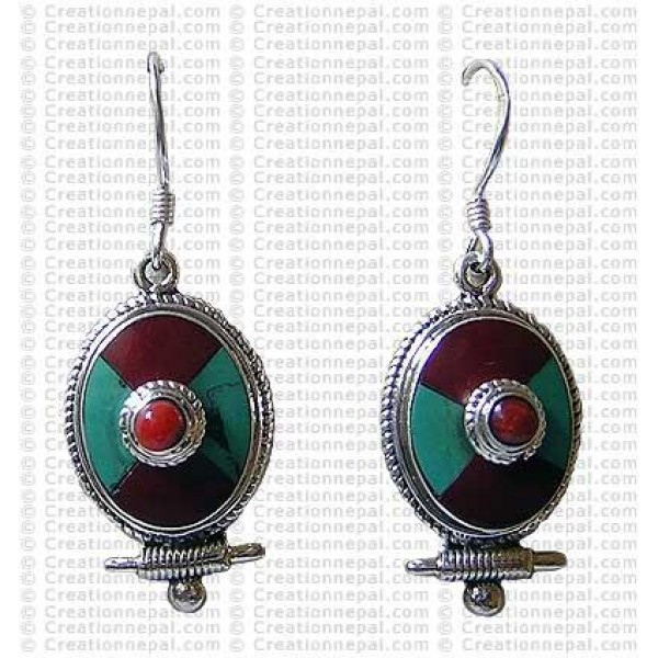 Tibetan tear drop Earring 2