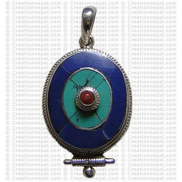 Oval shape Tibetan pendant 2