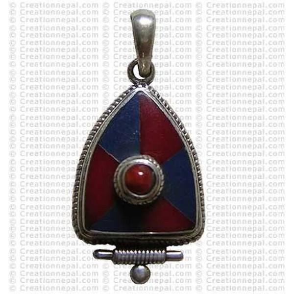 Triangular shape Tibetan pendant