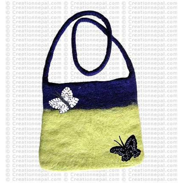 Two-color felt shoulder bag