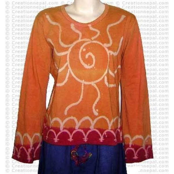 Sari design rib cotton full Tshirt 1