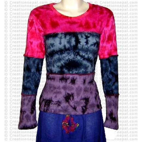Tie-dye patch rib cotton full Tshirt