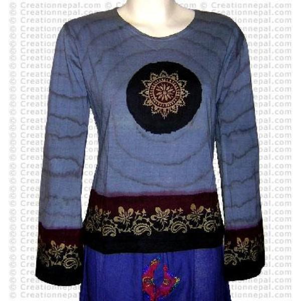 Sari design tie-dye rib cotton Tshirt 2