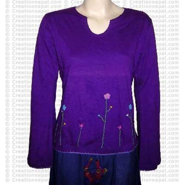 Crochet flower design rib cotton full Tshirt