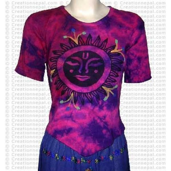 Sun design short sleeves rib cotton t-shirt 2