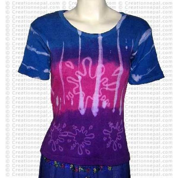 Rain drops design short sleeves rib cotton t-shirt