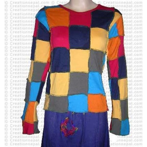 Squares patch-work full rib cotton Tshirt