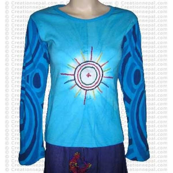 Crochet sun design full rib cotton Tshirt
