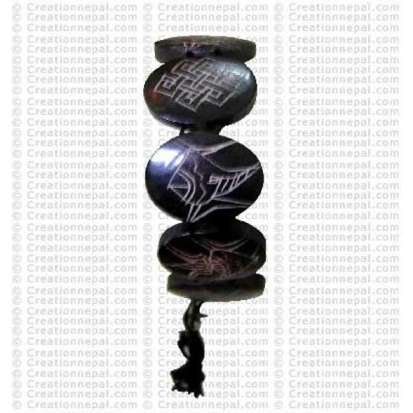 8-auspicious black bone bracelet