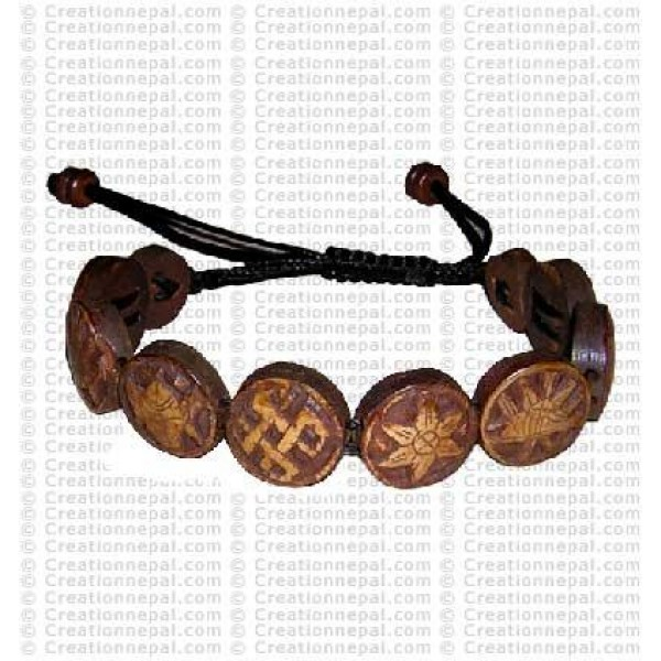 8-auspicious brown bone bracelet