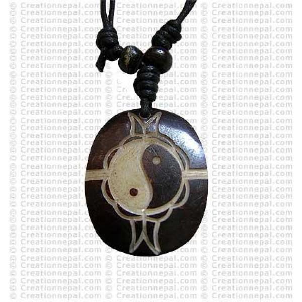 Ying-Yang oval bone pendant