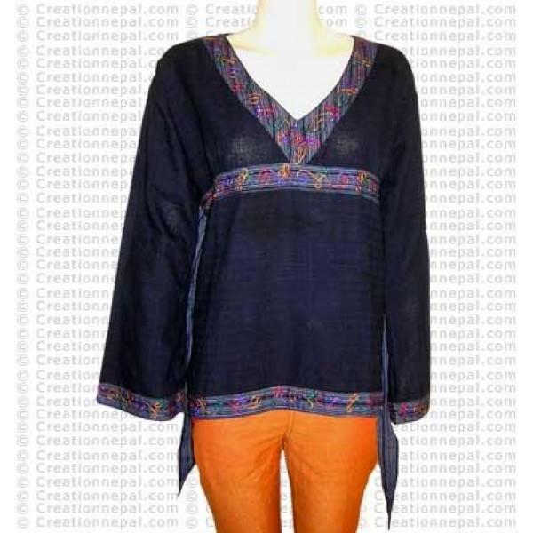 Lace design plain cotton top