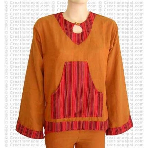 Stripe design pocket cotton top