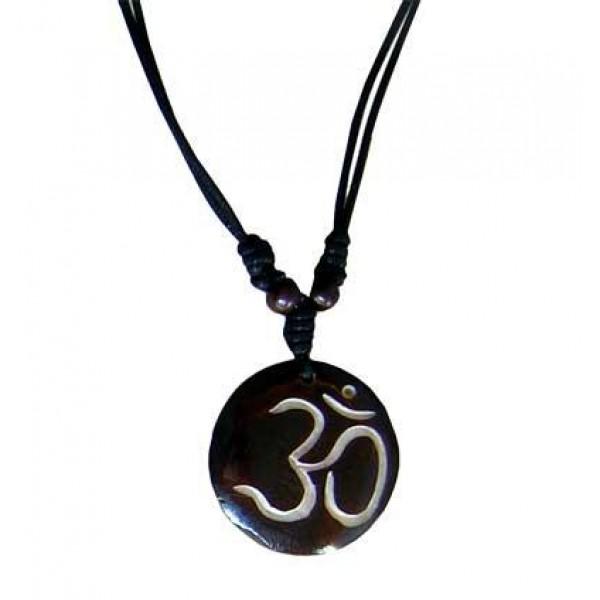 Om round bone pendant