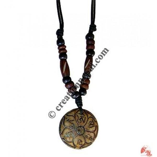Om Mani peace bone pendant
