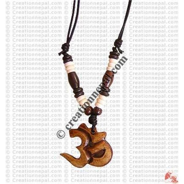 Sanskrit Om bone pendant