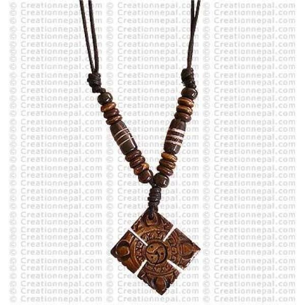 Double Dorje bone pendant