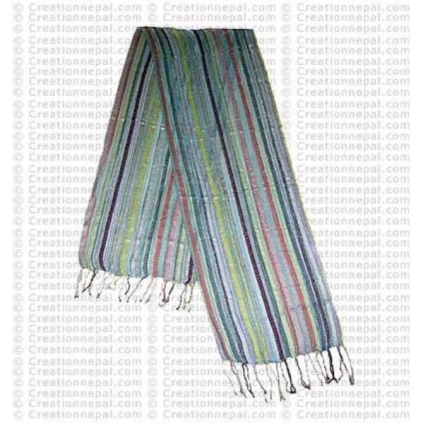 Loose knit cotton stripe scarf