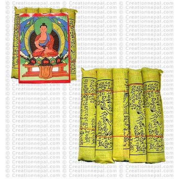 Cotton small prayer flags (packet of 5 rolls)