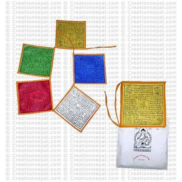 Natural paper prayer flag (packet of 5 strings)