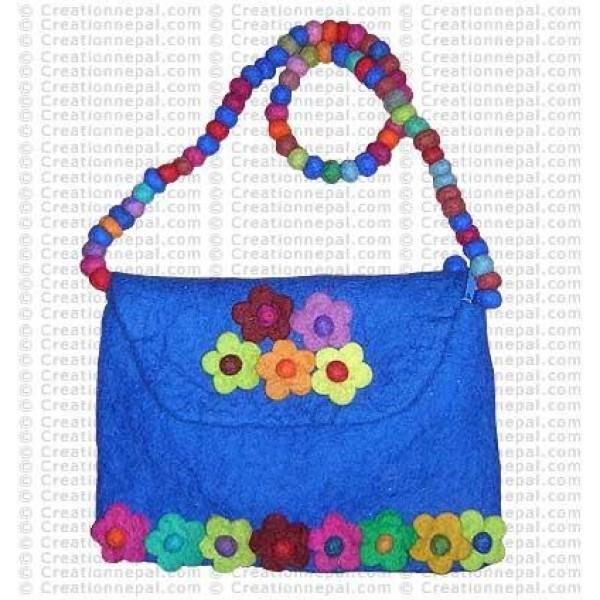 Balls strap flower patch felt bag 159