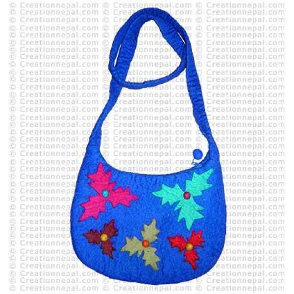 Leaves shapes patch felt bag 166