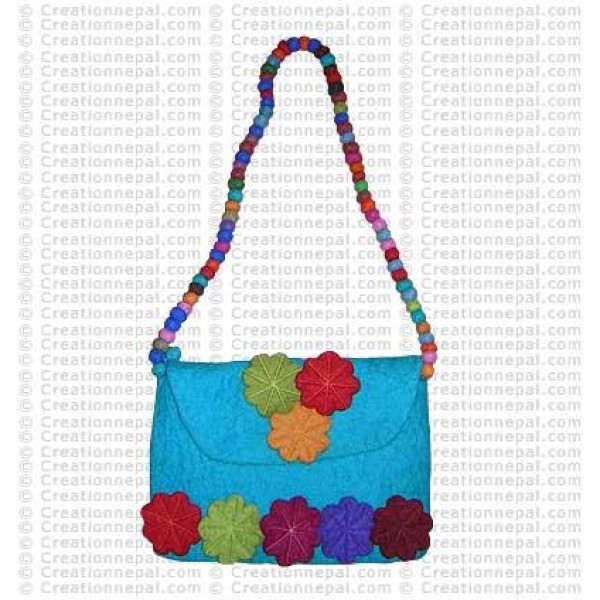 Balls strap flower stitched felt bag 167