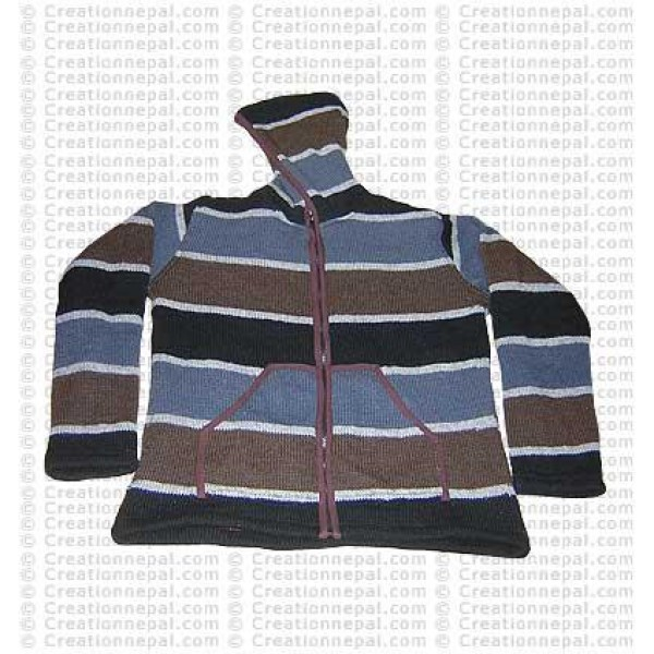 Woolen striped light jacket 01