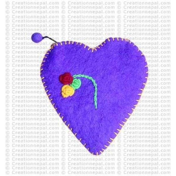 Felt heart shape coin purse