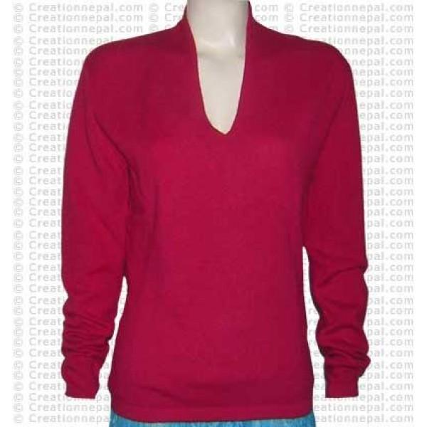 Rolled V-neck Pashmina sweater