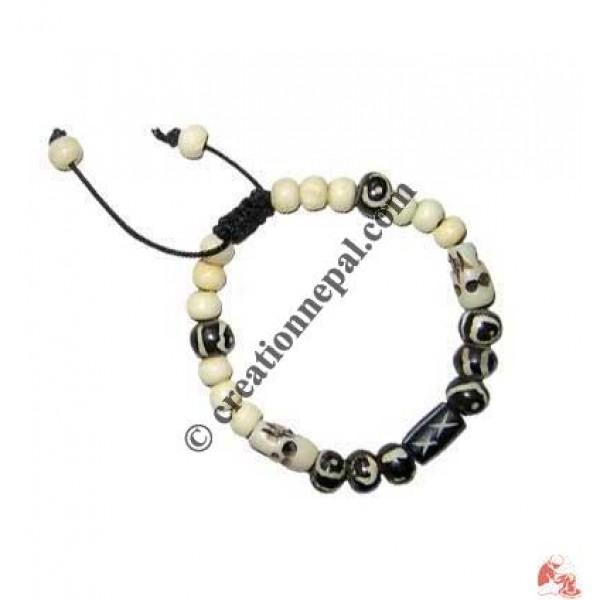 Mixed shapes bone beads bracelet