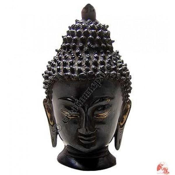 Antique color brass Buddha head 20cm