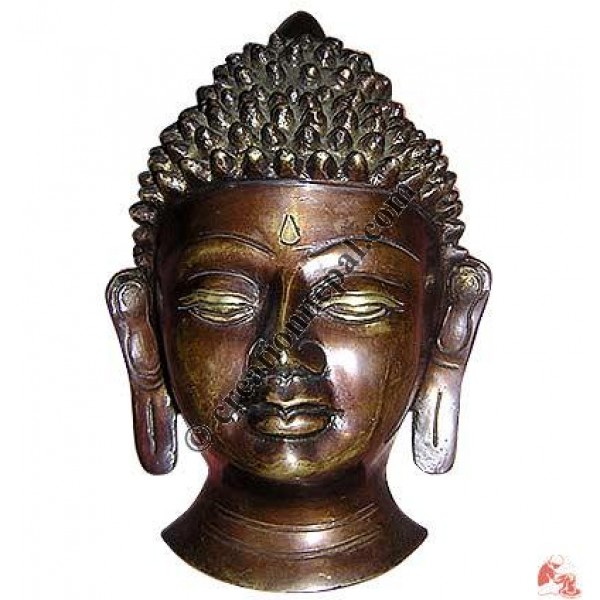 Antique color Buddha half-head 18cm