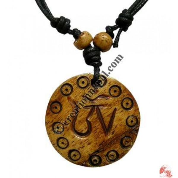 Tibetan OM carved pendant1